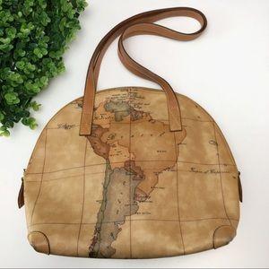 Alviero Martini Leather Map Tote Shoulder Bag
